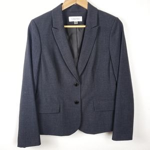 CALVIN KLEIN Gray Two Button Suit Jacket Blazer